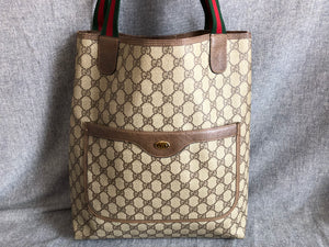 99220c26c Authentic GUCCI Web Sherry Line GG Canvas Tote Bag Brown PVC Leather ...