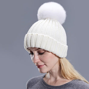Fur Ball Pom Pom Hat - Women Cap Beanies Knitted