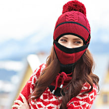 Beanie Pompom Neck Warmer Scarf  Set - 3 Piece Women Winter Hat - Red