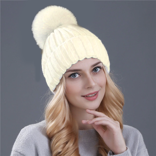 Winter Beanie Pom pom Hat Women Detachable Faux Fur Ball - White