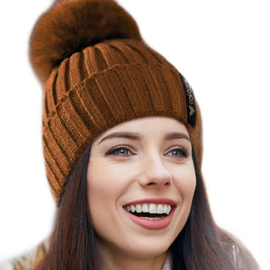 Winter Beanie Pom Faux Fur Hat for Women - Brown