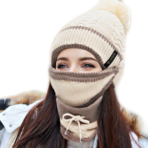 3-piece winter beanie hat scarf mask