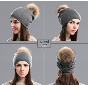 Women Winter Wool Hat with Fur Pom Pom - Beanies Knitted