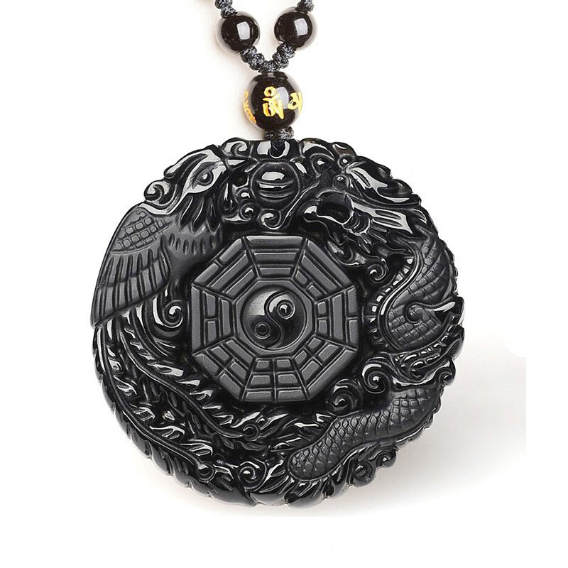 Natural Obsidian Dragon and Phoenix Necklace Pendant - Men Women Jewelry