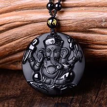 Ganesha Elephant God Obsidian Pendant - Black Beads Necklace - Lucky Charm Amulet - Spiritual Jewelry