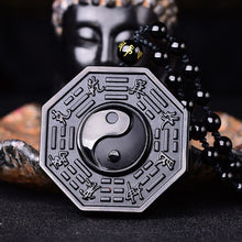 Black Obsidian Yin Yang Necklace Pendant - Men Women Jewelry - Chinese Carvings