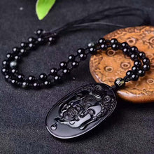 Buddha and Devil Carving Obsidian Necklace Pendant with Bead -- Men Jewelry