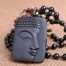Obsidian Buddha Face Jade Pendant Lucky Charm with Bead Necklace