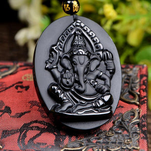 Original Obsidian Ganesha Necklace Pendant Elephant God - Lucky Amulet Charm - Unisex Jewelry