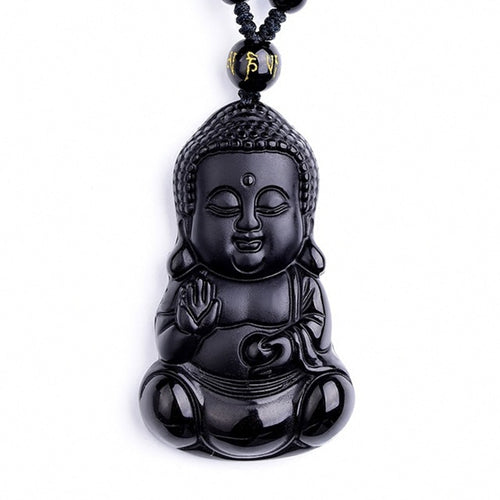 Black Obsidian Baby Buddha Necklace Pendant Jade Lucky Charm with Beads
