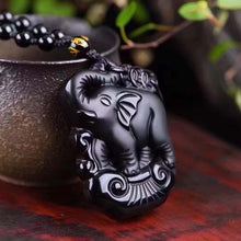 Black Obsidian Elephant Lucky Pendants Ganesha Necklace Men Jade Jewelry