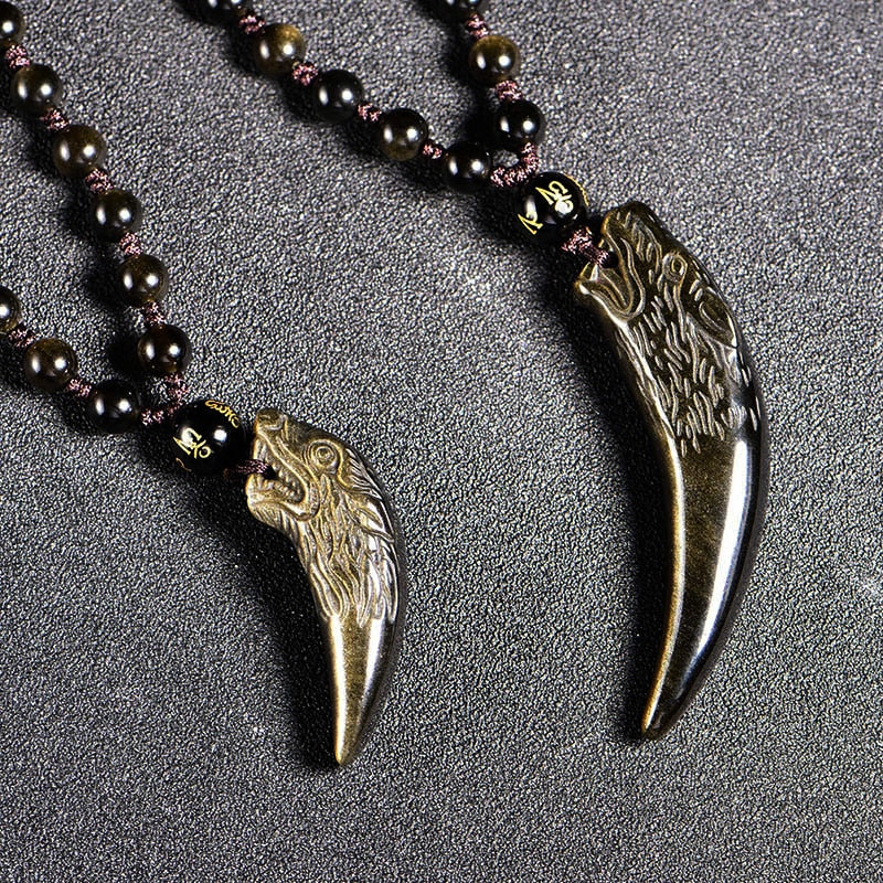 Gold Obsidian Wolf Teeth Pendant - Bead Necklace - Lucky Charm Men-Women Jewelry