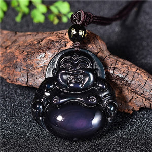 Original Gold Obsidian Laughing Buddha Necklace - Rainbow Obsidian Pendant - Men Women Jewelry
