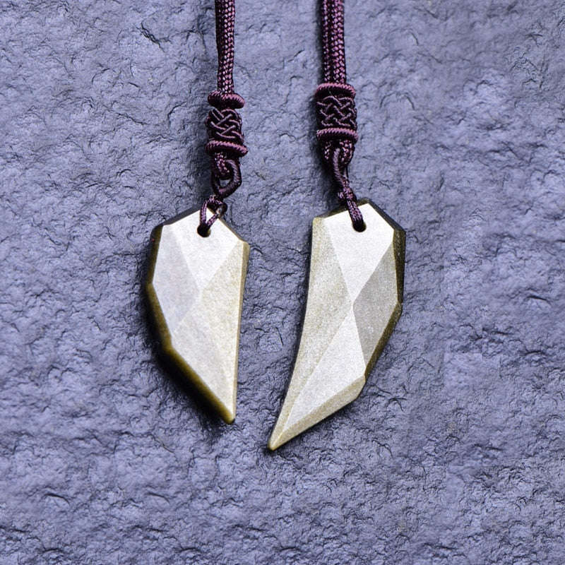 Obsidian Wolf Teeth Pendant - Men Jewelry - Couple Set