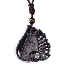 Natural Black Obsidian Carved Fox - Fashion Jewelry - Lucky Amulet