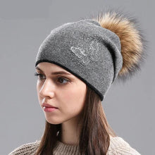 Women Beanies Hats for Winter - Knitted Wool - Fur Pom Pom