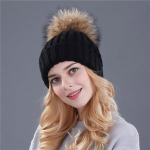 Women Winter Hats Soft Fur Puff  ~ Pom Poms Beanies by beachbeanies
