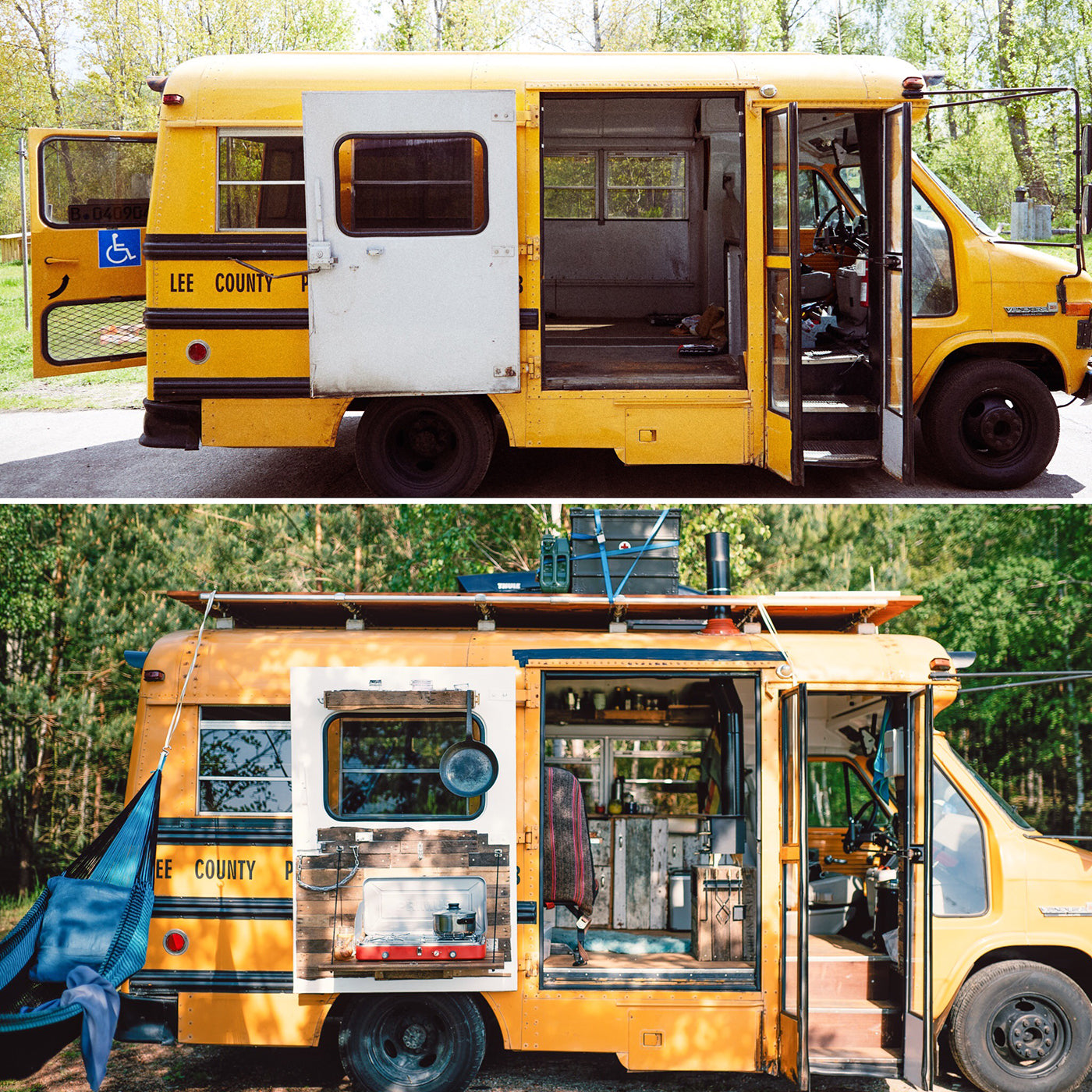 Bus shot with open doors from the outside. Top photo shows bus before rebuild, bottom photo after. (Photo: Kai Branss)