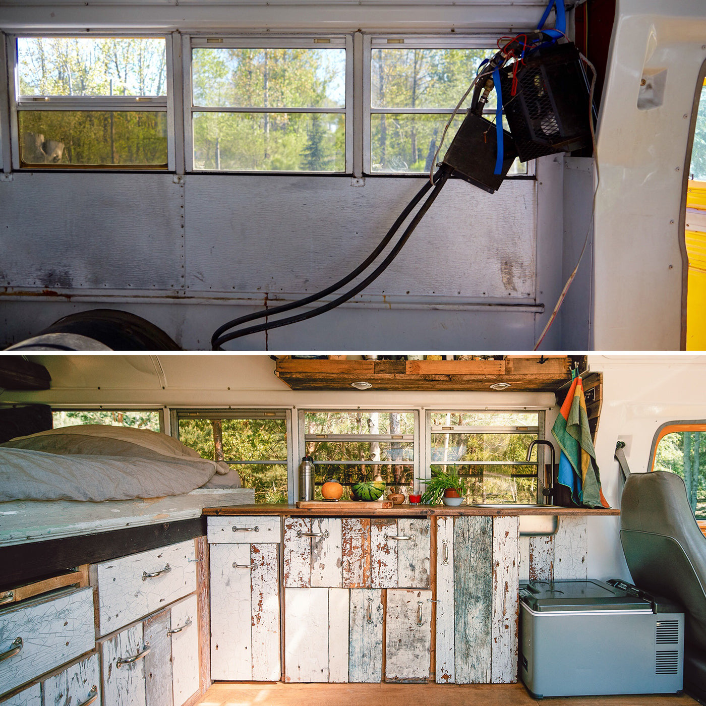 Photos of the interior of the bus–before and after the rebuild. (Photo: Kai Branss)