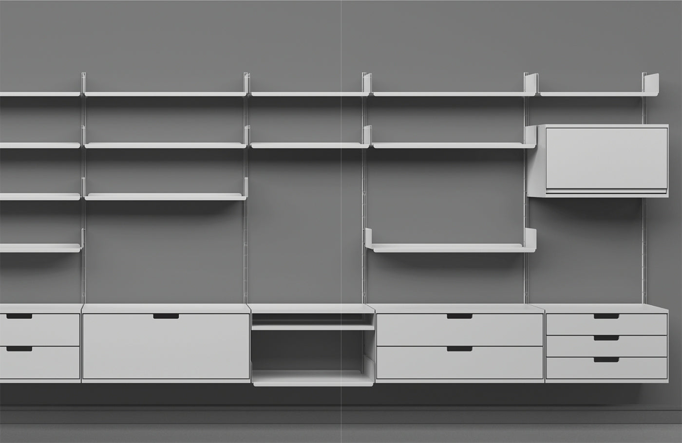 Shelving system photographed in black and white designed by Dieter Rams for furniture brand Vitsoe. (Design by Dieter Rams, photography by Vitsoe)