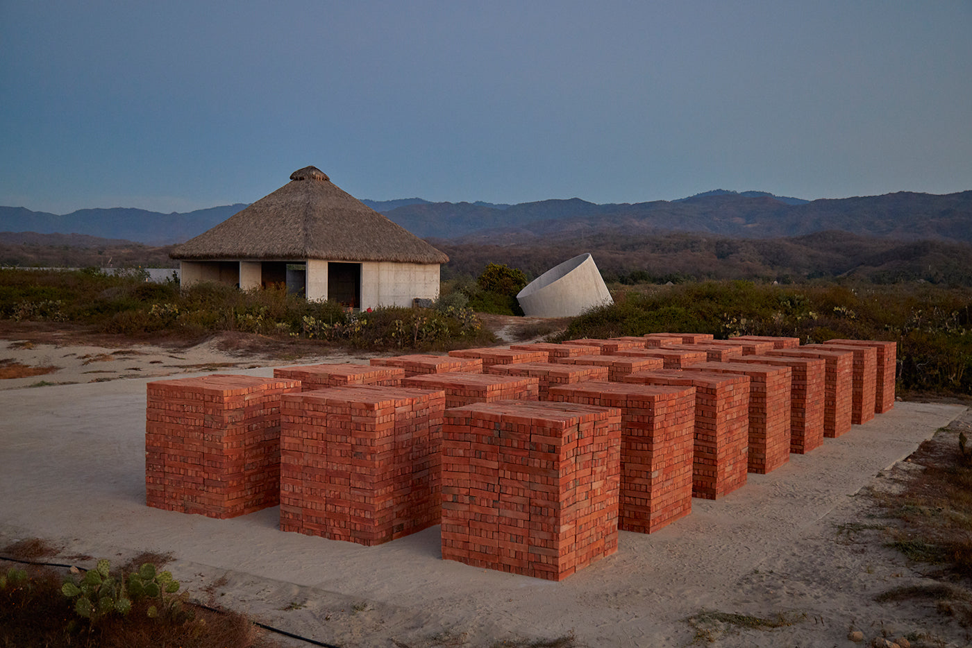 Building material in form of bricks stacked on the Casa Wabi grounds.