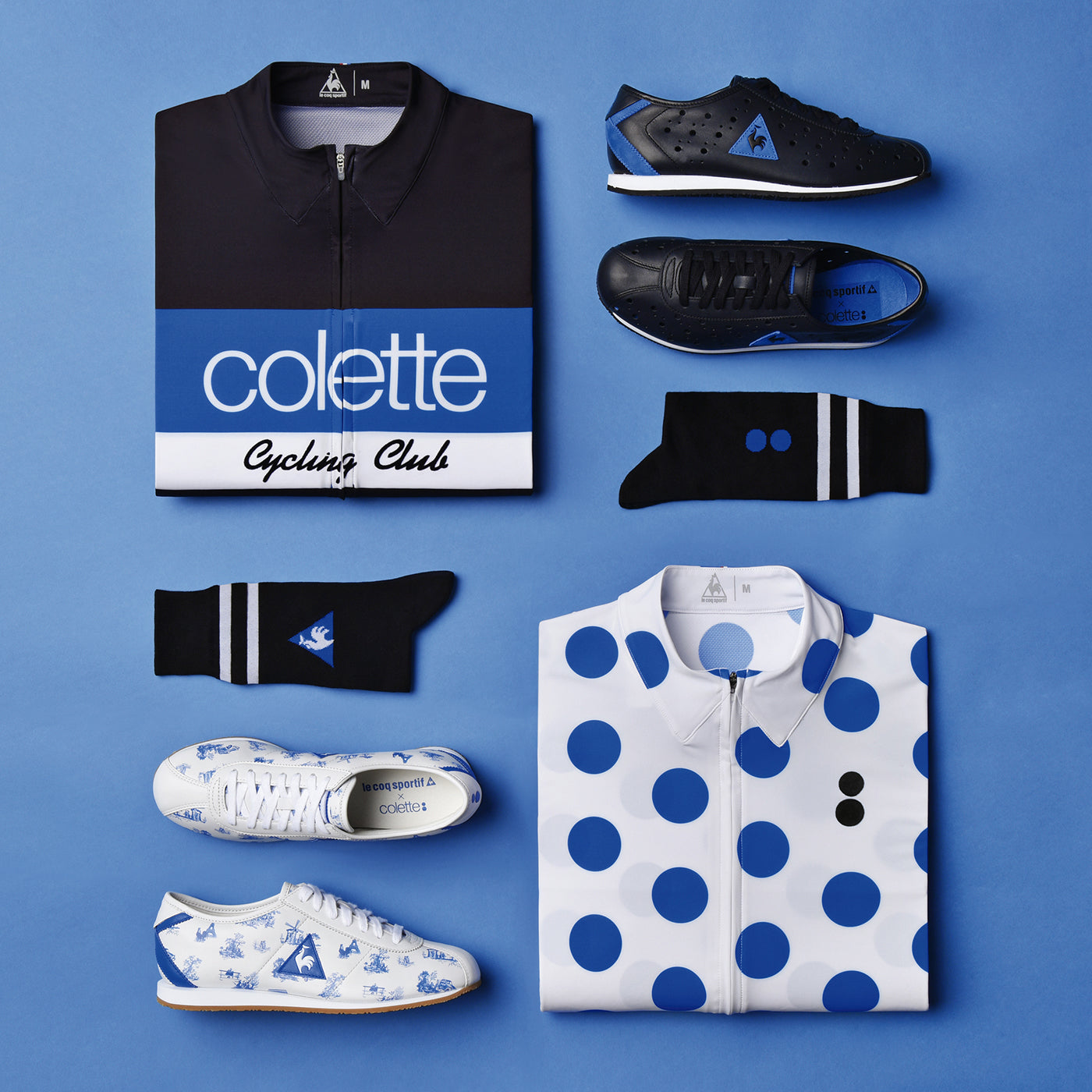 Products from the brand collaboration of Coq Sportif and colette. (Photo: Thomas Welch)