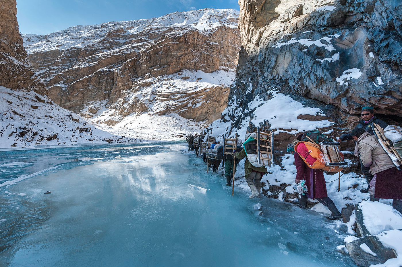 People hiking on the Chadar Trek along the frozen Zanskar River in northern India. (Photo: Manish Lakhani)