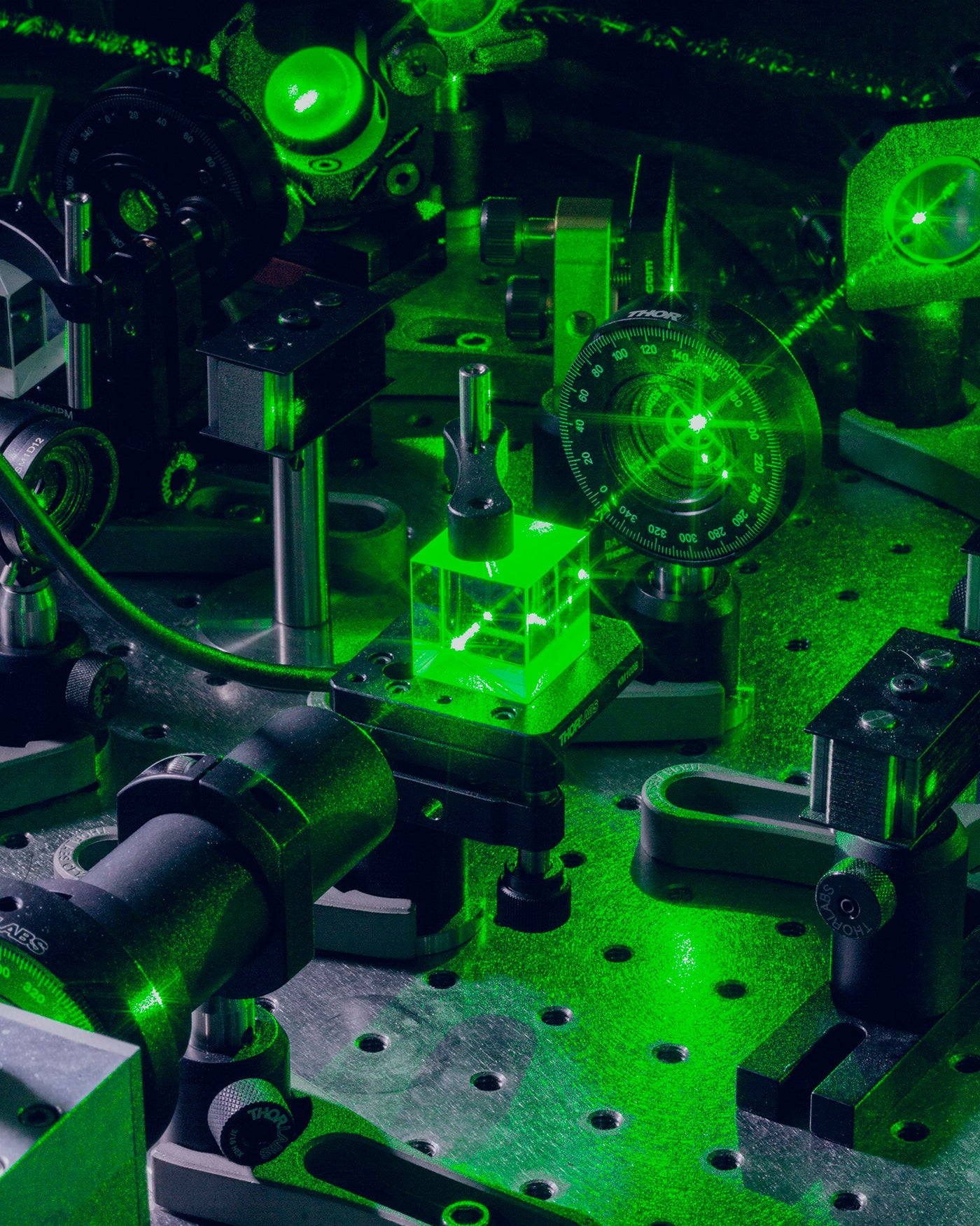 An optical experiment at the Quantum Photonics Laboratory in MIT Boston by Mattia Balsamini