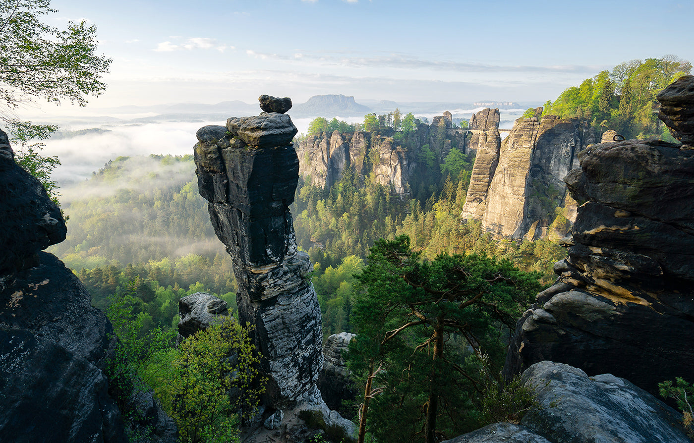Sandstone mountains along the Malerweg in the eastern part of German in Saxony province. (Photo: Philipp Zieger)