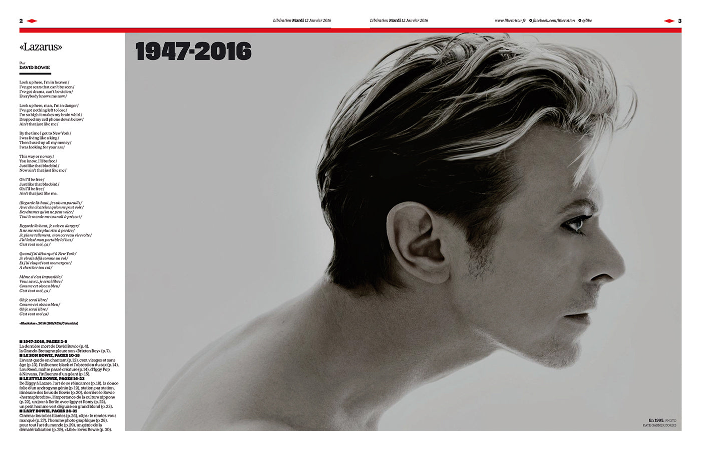 David Bowie in the French newspaper Libération on the occasion of the artist's death in 2016. (Photo: Libération)