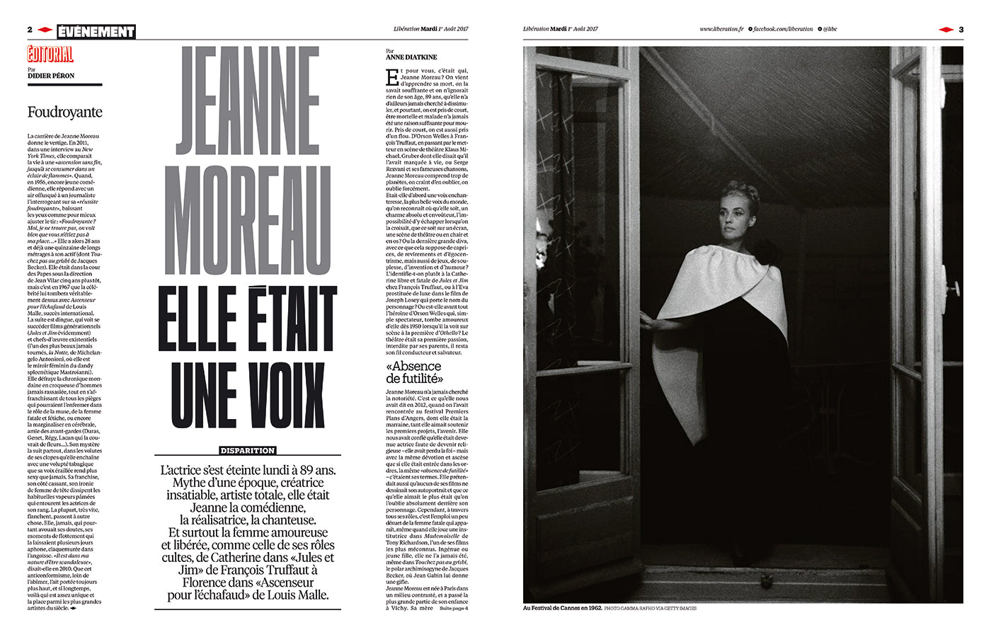 Actress Jeanne Moreau featured in the French newspaper Libération on the occasion of her death in 2017. (Photo: Libération)
