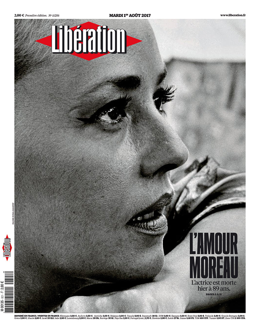 French actress Jeanne Moreau on the cover of newspaper Libération on the occasion of her death in 2017. (Photo: Libération)