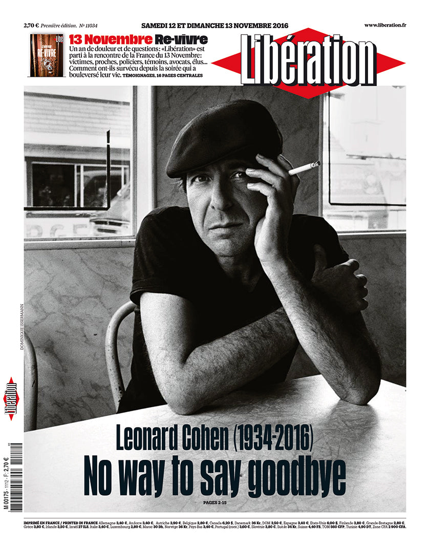 Singer Leonard Cohen on the cover of French newspaper Libération on the occasion of his death in 2016. (Photo: Libération)
