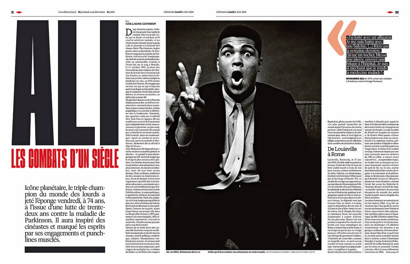 Muhammad Ali in the French newspaper Libération on the occasion of his death in 2016. (Photo: Libération)
