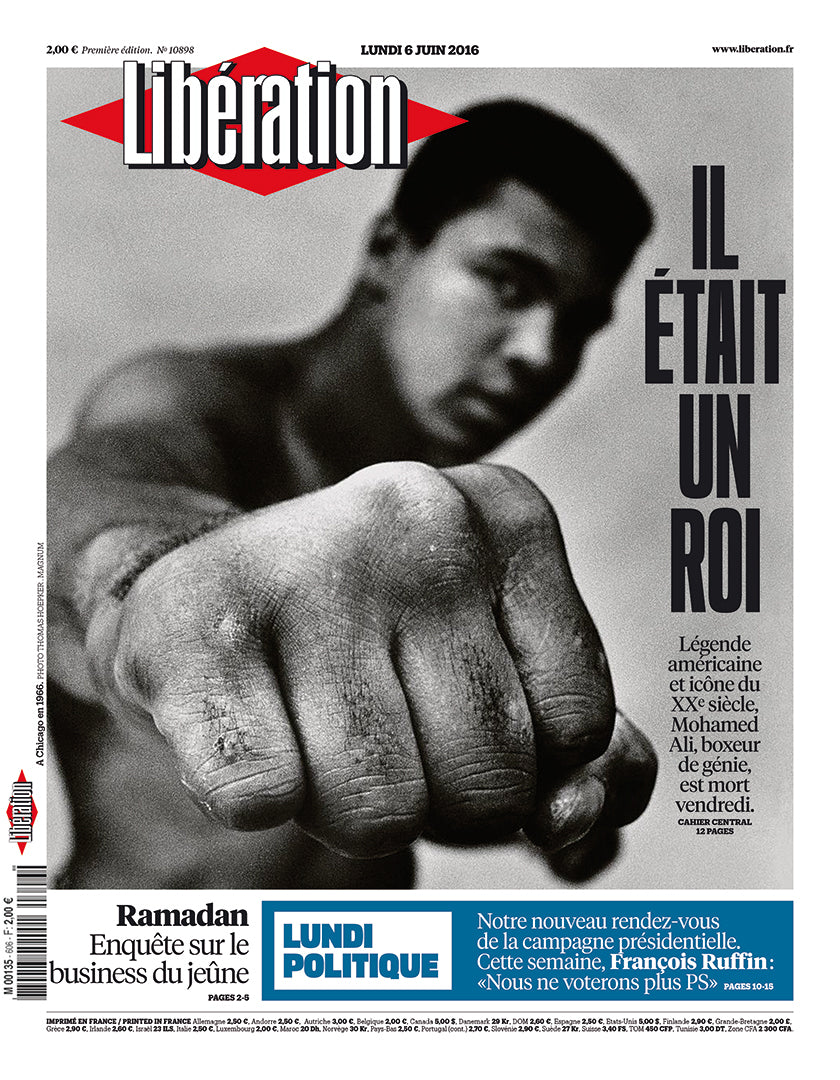 Muhammad Ali on the cover of French newspaper Libération on the occasion of his death in 2016. (Photo: Libération)