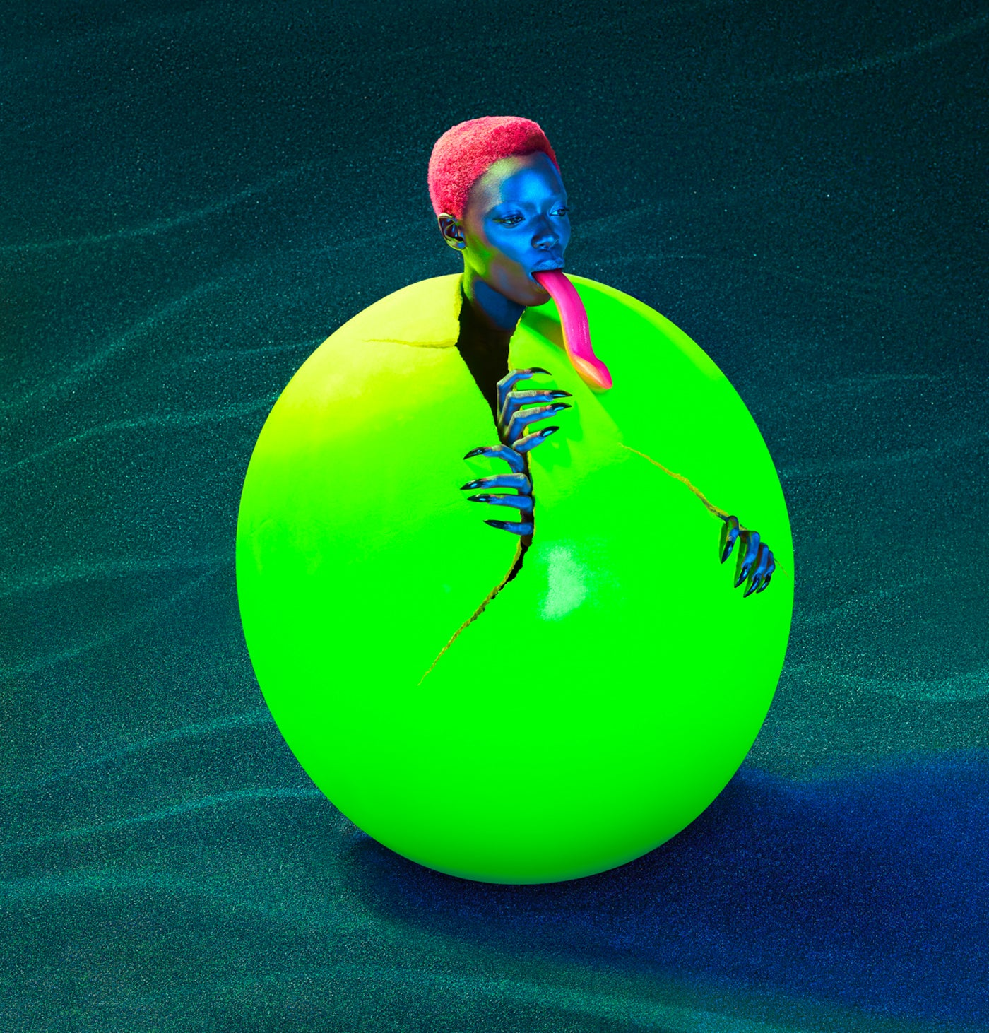 Model in a neon egg. From Venus beach from Pol Kurucz