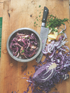 Red cabbage with apple, red onion, parsley, apple sauce, and vinaigrette
