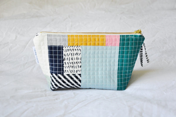 Luxe Patchwork Quilted Cosmetic Pouch 001