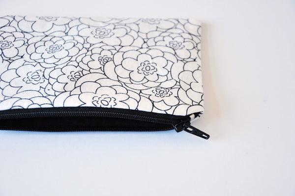 Monochrome Floral Sketches Coin Pouch