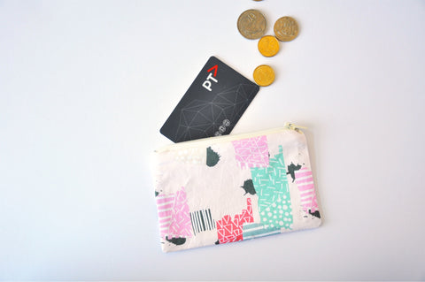 Pink Abstract Coin Pouch