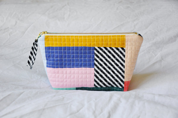 Luxe Patchwork Quilted Cosmetic Pouch 003