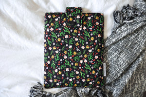 Black Ditsy Floral Book Sleeve