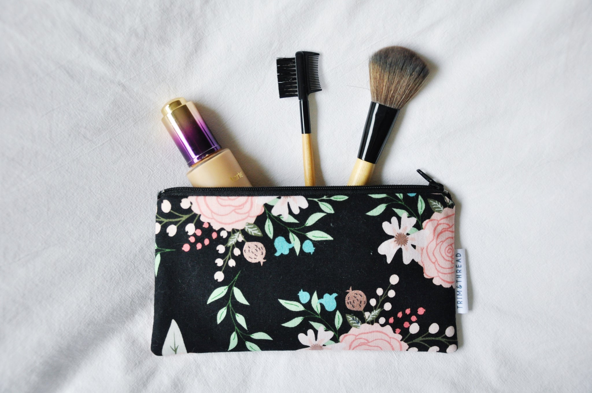 Bliss Black Floral Zipper Pouch