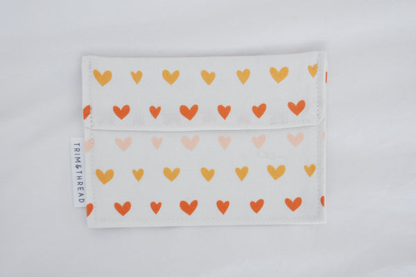 Ombre Hearts Mini Fold Over Snack Bag