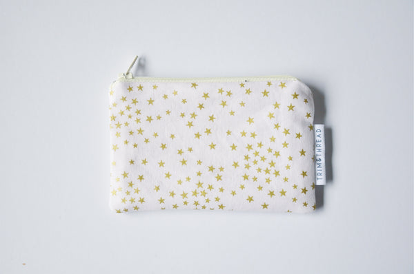 Light Pink Metallic Stars Coin Pouch