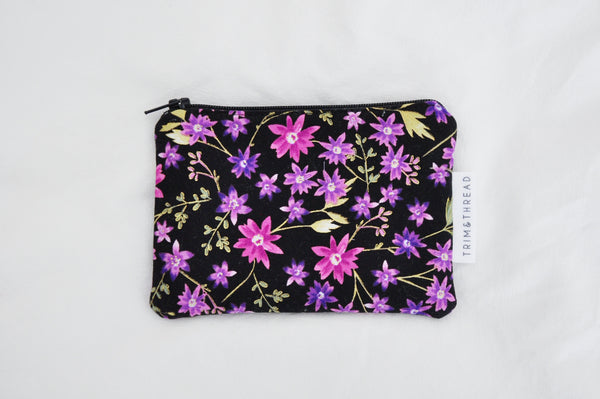 Enchanted Floral Black Coin Pouch