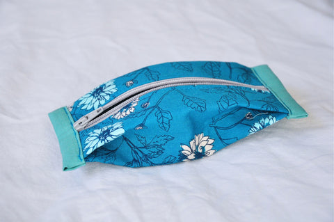 Teal Floral Popcorn Pouch (Mini)