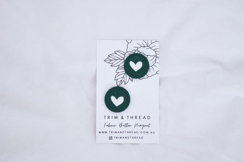 Green Hearts Button Magnets