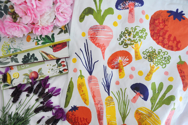 Retro Vibrant Veggies Tea Towel