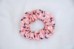 Midnight Rose Pink Sparkle Floral Scrunchie